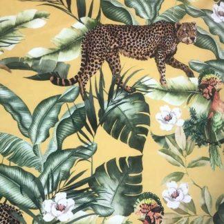 Leopard Leaves velvet fabric